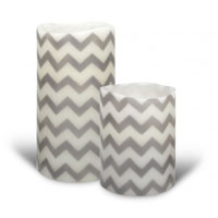 Chevron grey flameless candle